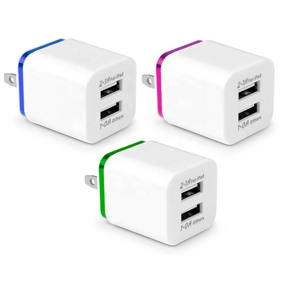 EU/US Plug 10W Home Travel Dual Portable 2 Ports AC USB Wall Charger for Iphone Android Phones