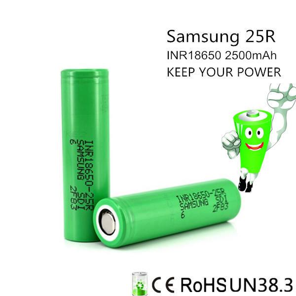Số lượng lớn pin aa 3.7 v 18650 sạc pin lipo samsung 25r 2500 mAh