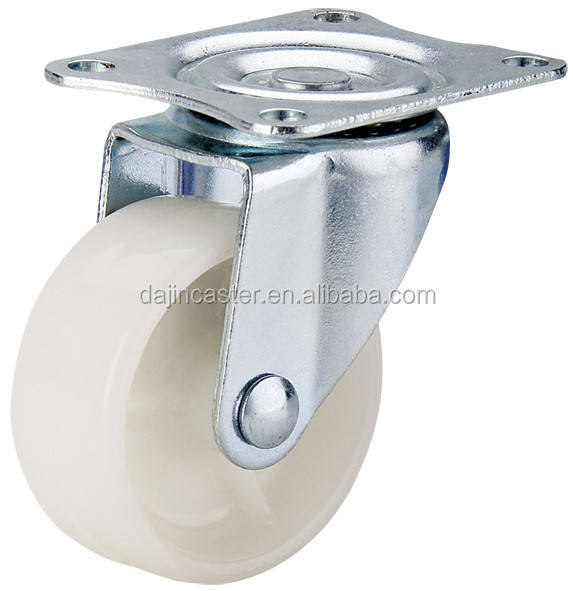 2 inch low proflie trundle caster wheel light duty white PP caster for small trolley