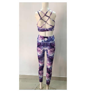 Wholesale Women Fitness Back Cross Strap Top Sports pants Yoga Suit