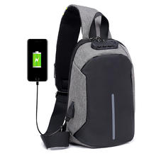 Wholesale customized waterproof usb charge nylon men's chest sling bag