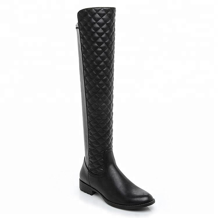 2019 new design PU/fabric flat slim long boots women shoes sexy ladies thigh high boots over knee winter boots