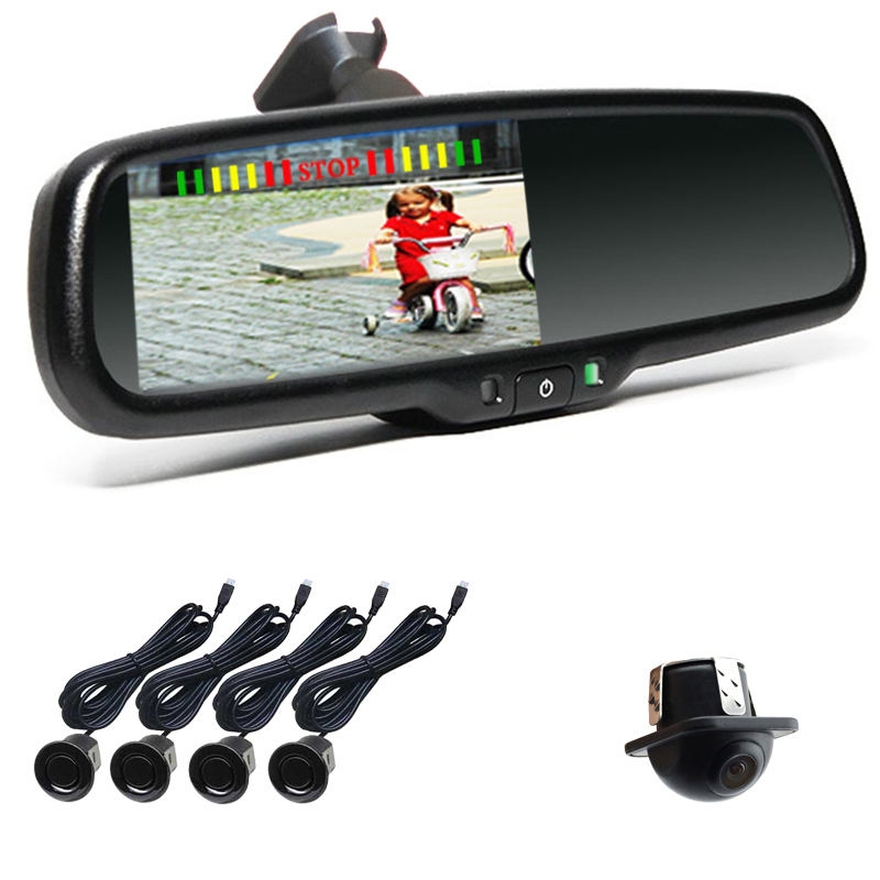 "4.3"" Monitor Rear View Camera Mirror Wireless Reverse Camera And Parking Sensor"