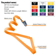 2135-3551 10mm (3/8 Inch) Flat Braid Woven Polypropylene Lanyard with Bulldog Clip and Metal Crimp Finishing