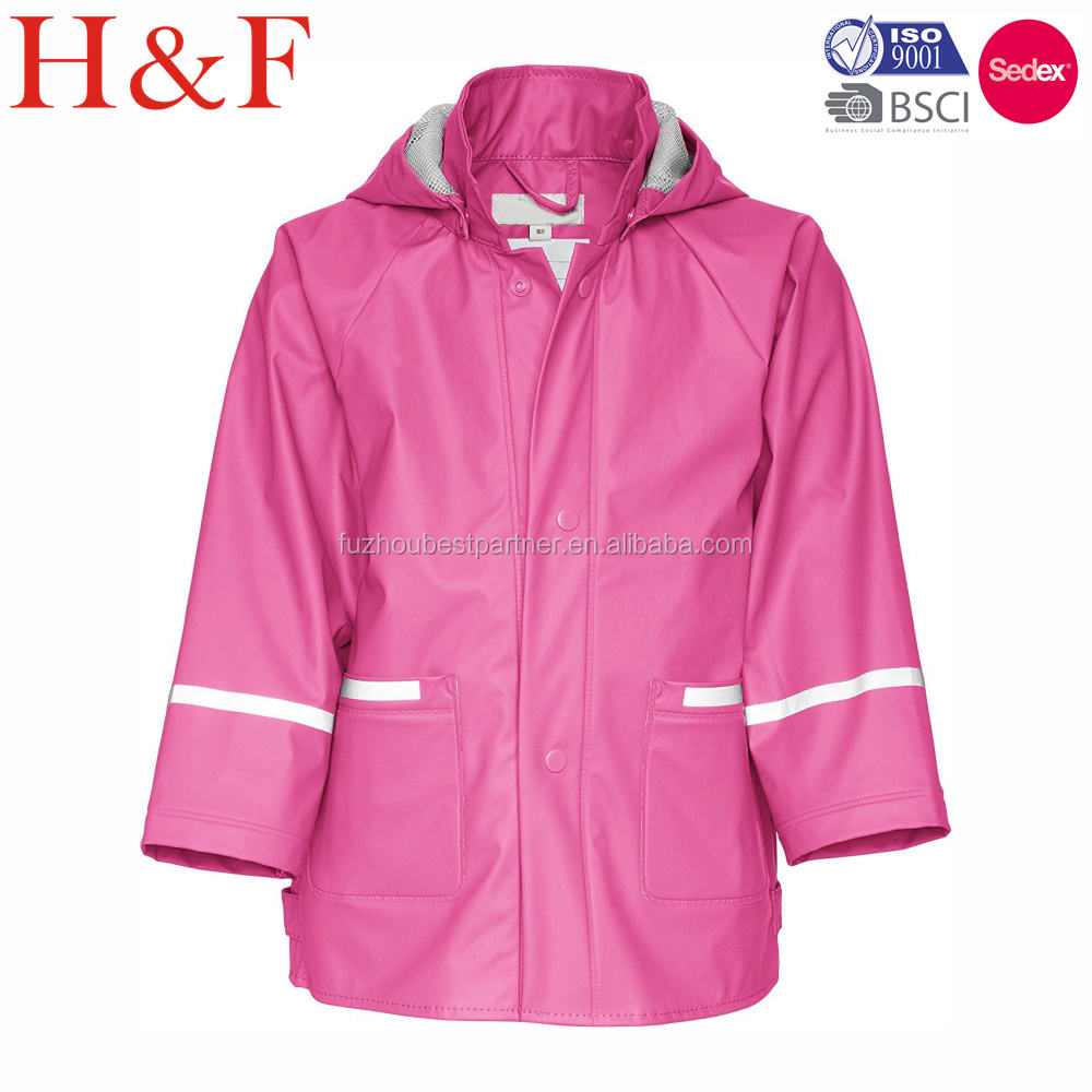 Waterproof girls kids raincoat kidswear clothing ski pu rainsuit