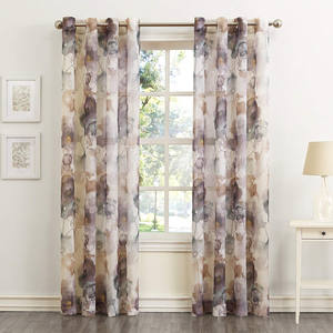 Andorra Watercolor Floral Crushed Texture Sheer Voile Curtain, Digital Printing Window Curtain