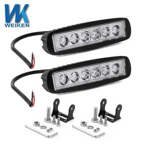 WEIKEN Dual Color Blue/White Mini Auto Offroad Work Light LED Bar 4X4 ATV 18W Boat Marine Light