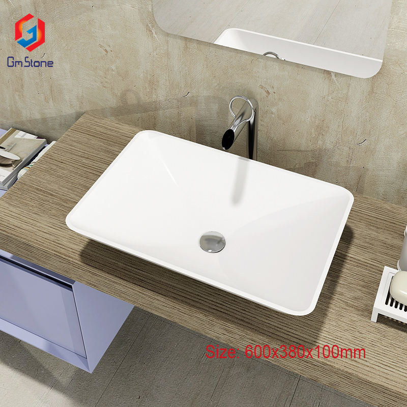 GM-2015 Fancy Solid Surface Acrylic Small Wash Basin countertop basin sinks