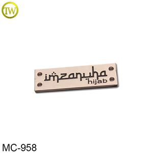 Custom Misty Gold Metal Clothing Label Metal Name Tag For Hijab Scarf