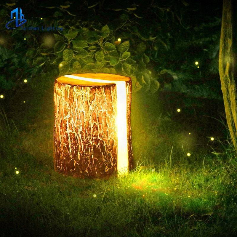 Outdoor New Design tree stump Led Lightdecorative timber pier lawn light garden resin wooden pile landscape lighting