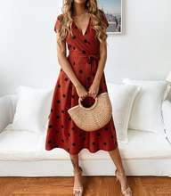 or60211a 2019 spring/summer fashion casual v-neck printed polka-dot lace women dress