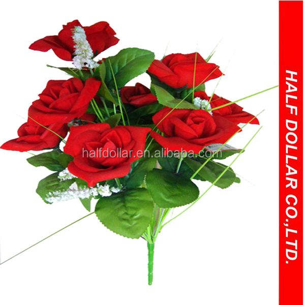 9pcs Plastic Red Artificial Flower/ Artificial Rose