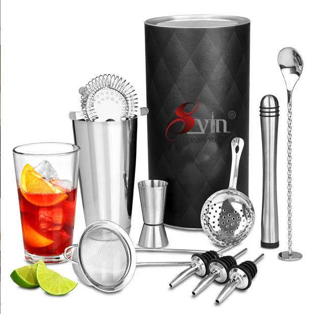 9 Piece Stainless Steel Bartender Set Cocktail Shaker Set with Bamboo Base