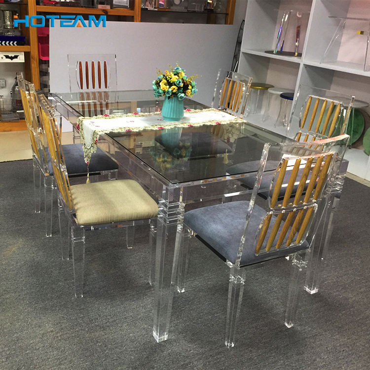 Transparent Rectangle Acrylic Dining Table Set 6 Chairs Room Furniture
