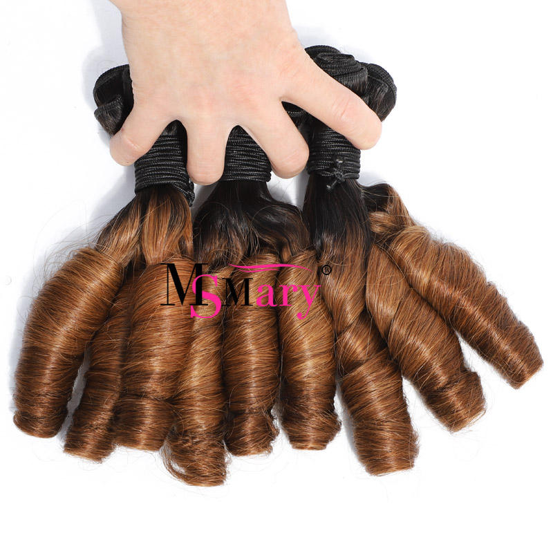 Wholesale Funmi Hair ,12A Grade Double Drawn Ombre Bouncy Curl Brazilian Hair Bundles