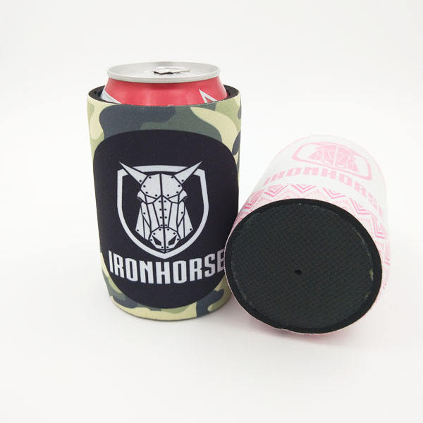 Custom Logo Camo print Cheap Neoprene Can cooler holder with glued bottom