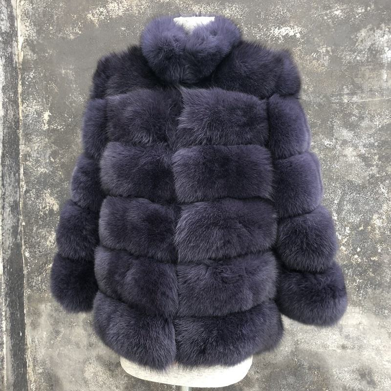 Customized color real short fox fur coat winter warm for women