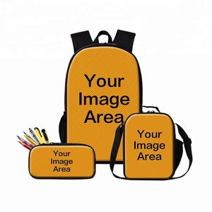 3 PCS Sublimation Cooler Lunch Bag Designer Pencil Case Custom Blank School Backpack