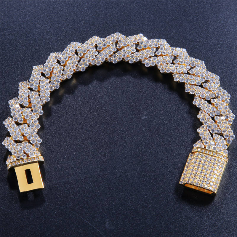 New Fashion HipHop Iced Out Gold and Silver Plated Cubic Zircon Miami Cuba Link Bracelet 8Inch