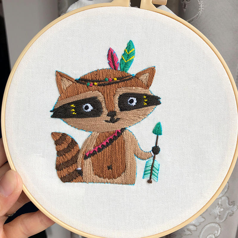 hand made cross stitch Raccoon Multi Patterns Chinese hoop Embroidery