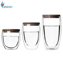 Double Wall Insulated Borosilicate Coffee Glass Cup set bamboo glass water bottle