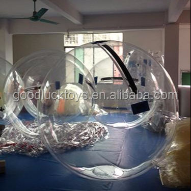 2018 new design Transparent Blue handle 3m Inflatable Human Sized Hamster Ball For Water Pool