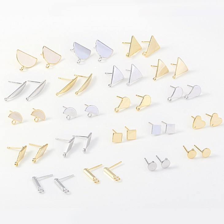 JBH002 Good quality Jewelry Findings Copper Geometric Irregular Triangle Earrings pins