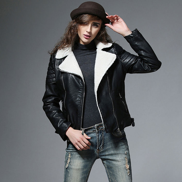 woman black fur lined jacket garment manufacturer lady fashion winter faux leather jacket