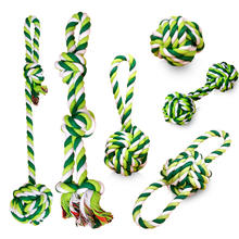 Manufacturer wholesale OEM custom logo bite resistance green durable rope ball set pet dog toys