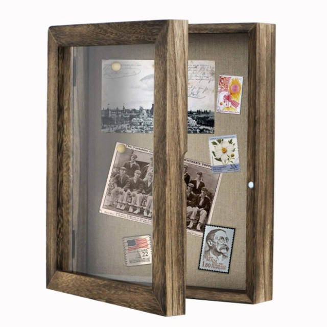 "New design wooden Shadow Box Display Case 8""x10"" Photo Frame with Linen Back"