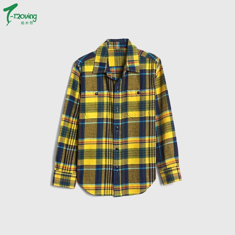China Manufacturers Children's Yellow Plaid Soft Flannel Shirt With Pocket Kids Long sleeves Plaid Shirt