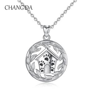 925 sterling silver pet memorial house i love dog puppy cat paw print pendant