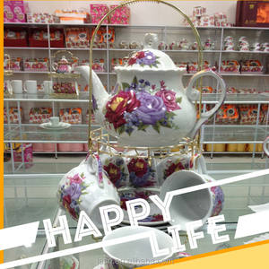 13 pcs porcelain tea set with metal stand