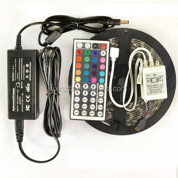 5050 RGB Whole kit 5M SMD RGB 5050 Waterproof Strip light 300 LED + 44 Key IR Remote + 12V 5A power