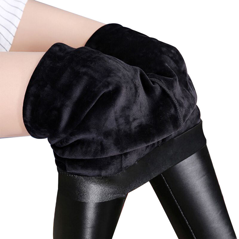 Winter Warm Legging Sexy Black Leather Pants High Waist Casual Warm Solid Faux Leather Leggings