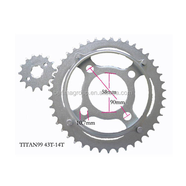 motorcycle parts 1045 steel complete Transmission kit 43T 14T Sprocket and chain kit for TITAN99
