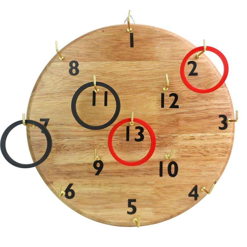 Originality education puzzle wooden quoits kids toy wooden Ring Toss hookey for children outdoor or indoor play
