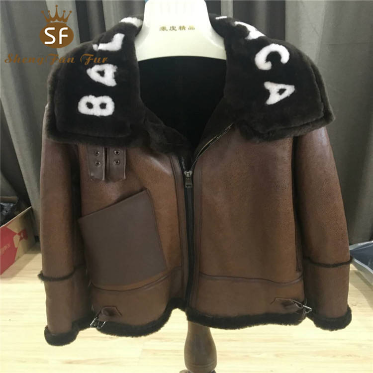 2018 winter hot sale warm monogram quality real leather fur lined parka coat with custom logo