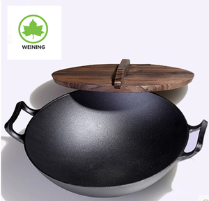 Chinese Wok Preseasoned Cast Iron Wok With Wooden Cover