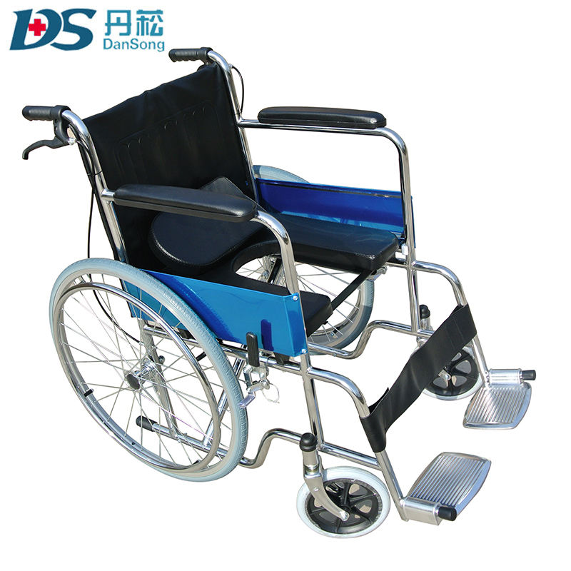 Wheelchair Manufacturer Wholesale of Folding Commode Wheelchairs with Bedpan