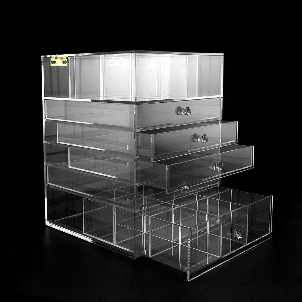 5-tier acrylic makeup storage boxes/ organizers with drawers wholesale from factory at best price