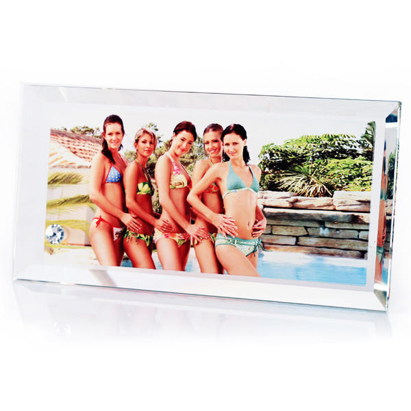 Wholesale Create Own Gift cbd Crystal Glass Curved Glass Photo Frames Creative Gifts sublimation Crystal blanks