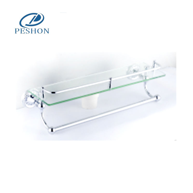 Gold Bathroom Accessories New Design Corner Wall Mount Glass Shelf With Towel Bar