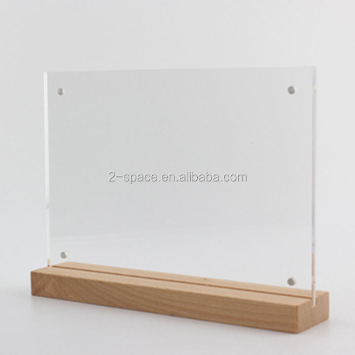 Acrylic Advertising Poster Stand A5 Wood Base Acrylic Table Sign Menu Sign Holder