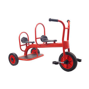 Cheap Price Kindergarten Manned Pedal Tricycle Metal Structure Manpower Steel Metal Kids Double Seat Tricycle