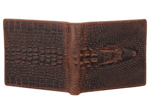 Fashion Short Design Bifold Genuine Leather Crocodile Wallet