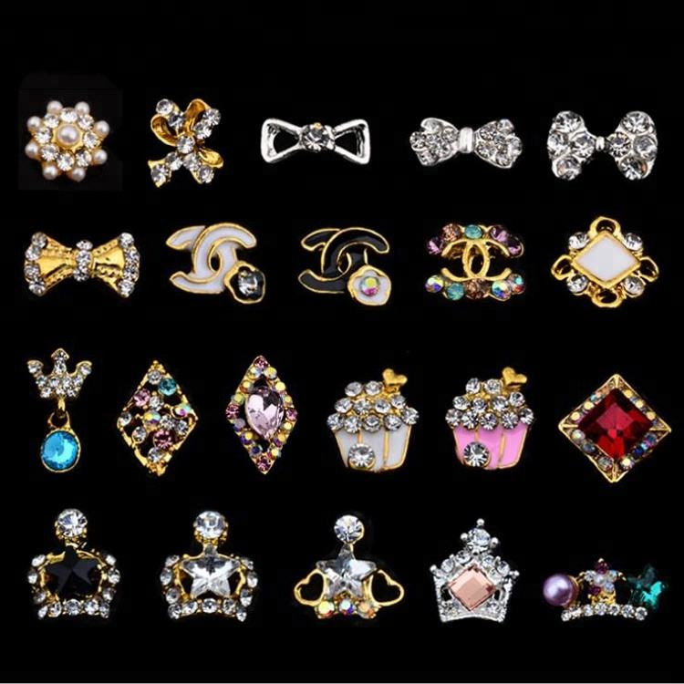 Crown Rhinestone 3D Bow Japanese Nail Art Charms Supplies For DIY Finger Decoration
