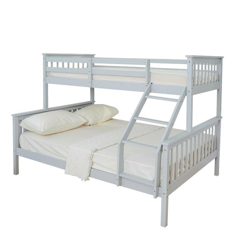 solid wood triple kids double deck bed bunk bed