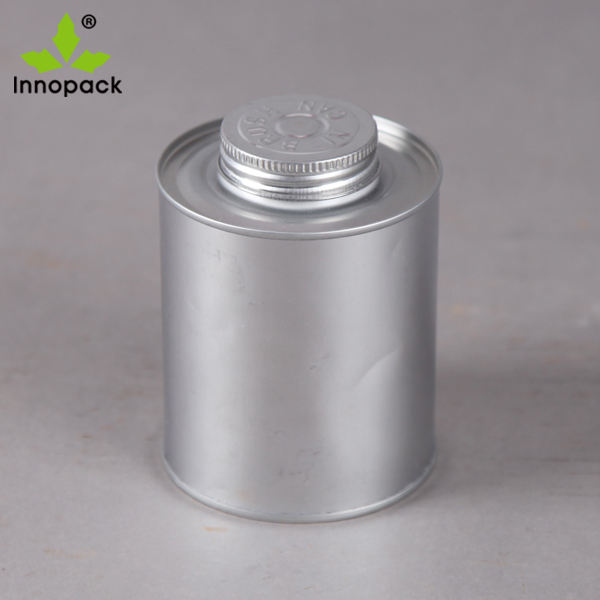 8oz/237ml Empty Round Metal Tin Can for 250g PVC Glue with Brush Applicator