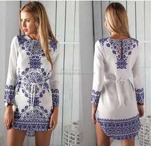 New Summer Women Dress Long Sleeve Print Tunic Ladies Casual Dresses White O-neck Vintage Dress Female Vestidos Loose Women